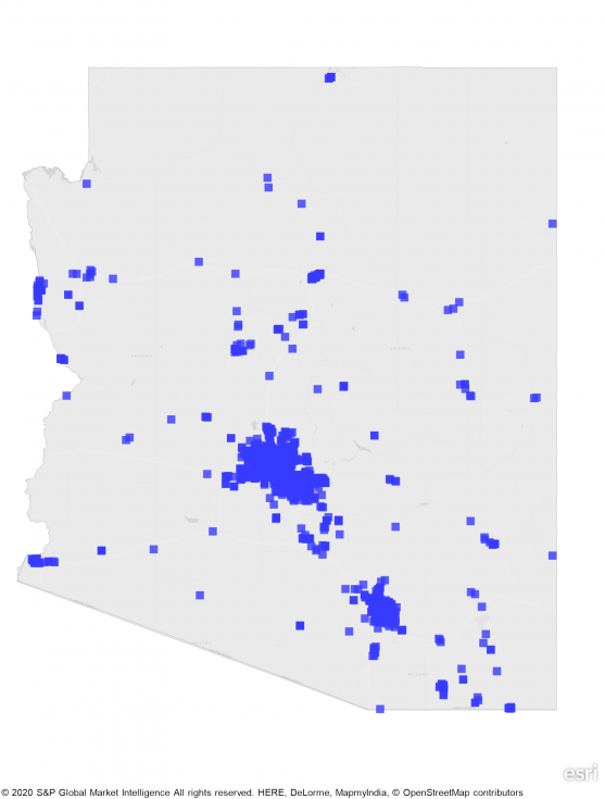 state map of arizona showing large concentrations of REITs in south central part of state