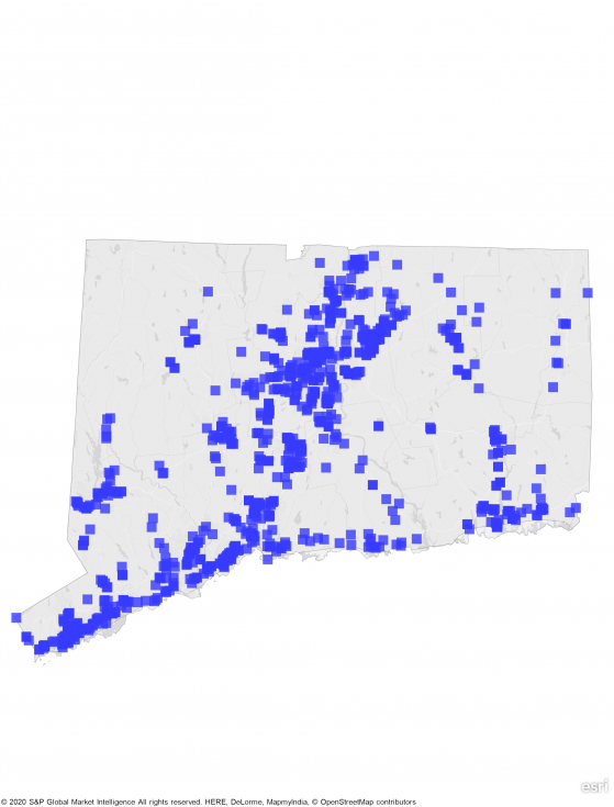 A heat map of Connecticut showing a large concentration of REIT properties in central and southern parts of state