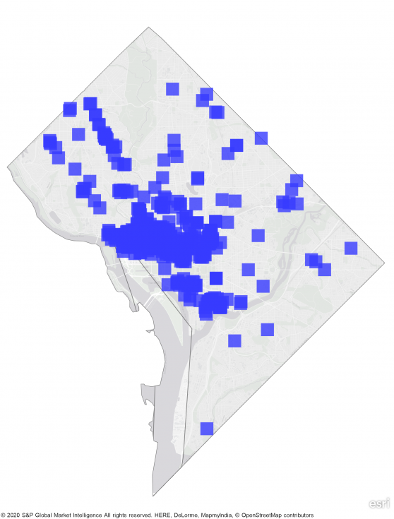 heat map of DC with large concentraion of REIT's in central part