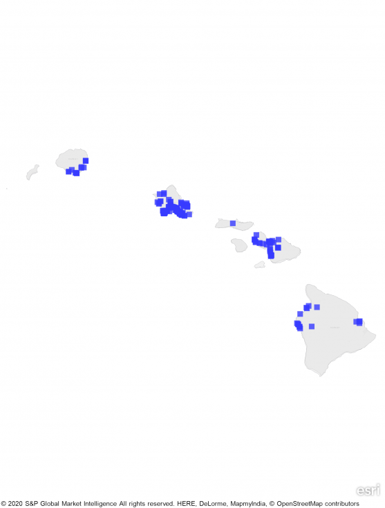 A heat map of Hawaii showing a large concentration of REIT properties in northern islands