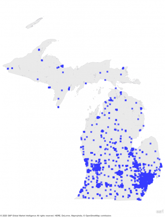 A heat map of Michigan showing a large concentration of REIT properties in central part of state