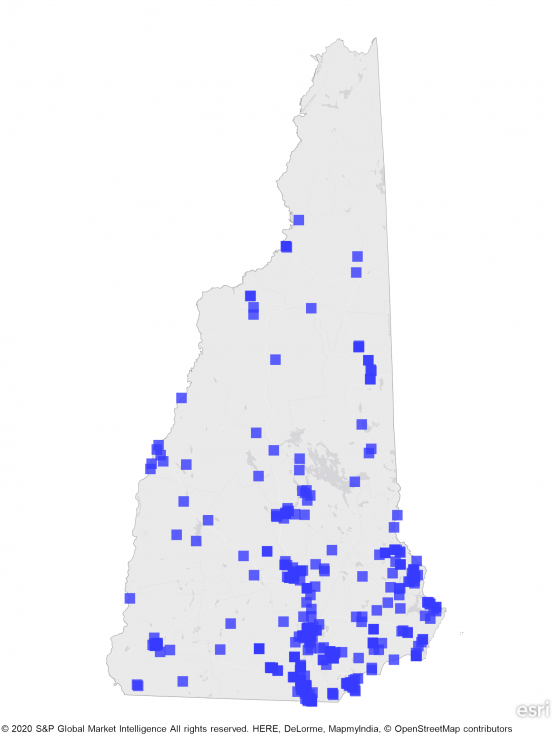 state map of new hampshire showing concentration of REITs in southern part of state