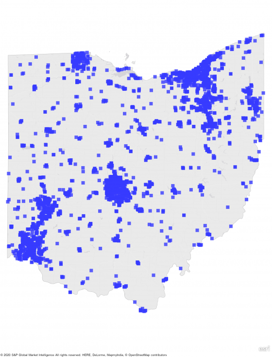 A heat map of Ohio showing a large concentration of REIT properties in south western, central, and northern part of state