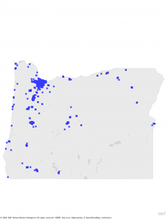 A heat map of oregon showing a large concentration of REIT properties in western part of state