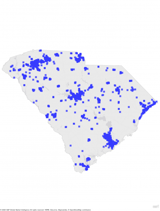 A heat map of south carolina showing a large concentration of REIT properties in entire state