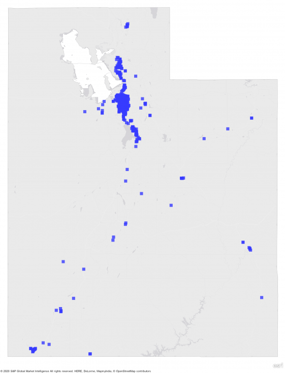 A heat map of utha showing a large concentration of REIT properties in northern part of state