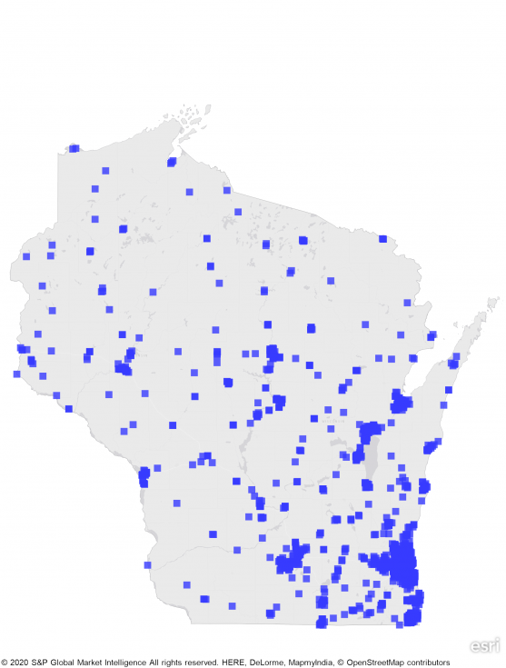 state map of wisconsin showing concentration of REITS in southern cities